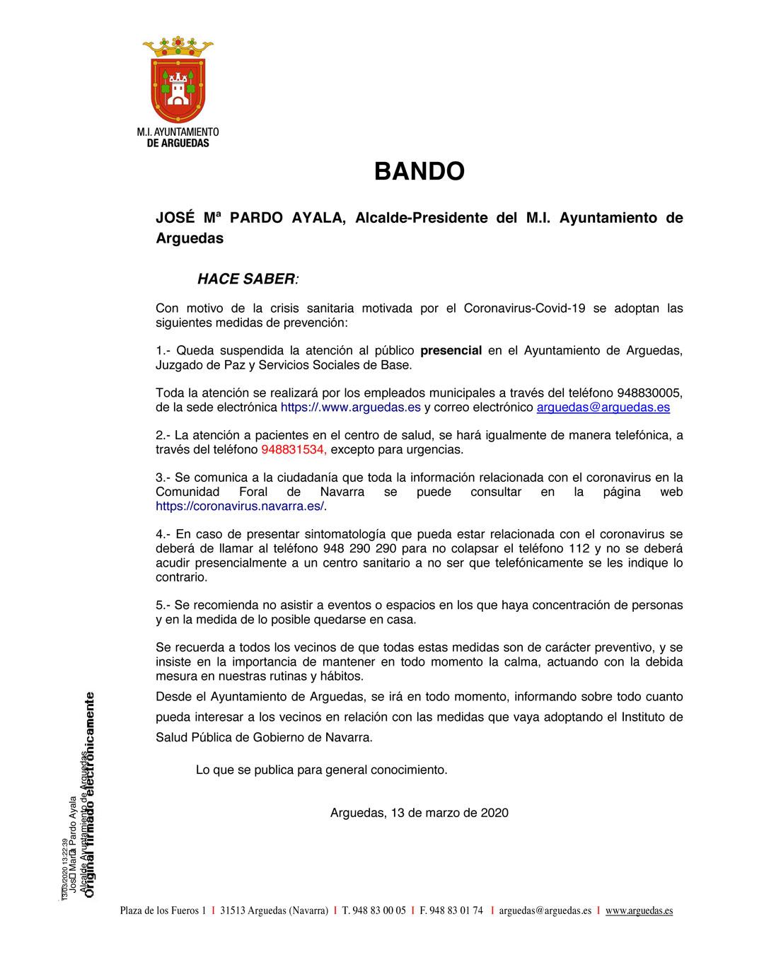 BANDO CORONAVIRUS 13 MARZO 2020
