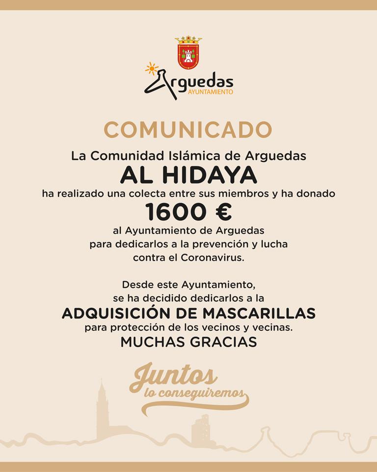 Arguedas La Comunidad Islámica de Arguedas Al Hidaya ha donado 1600 €