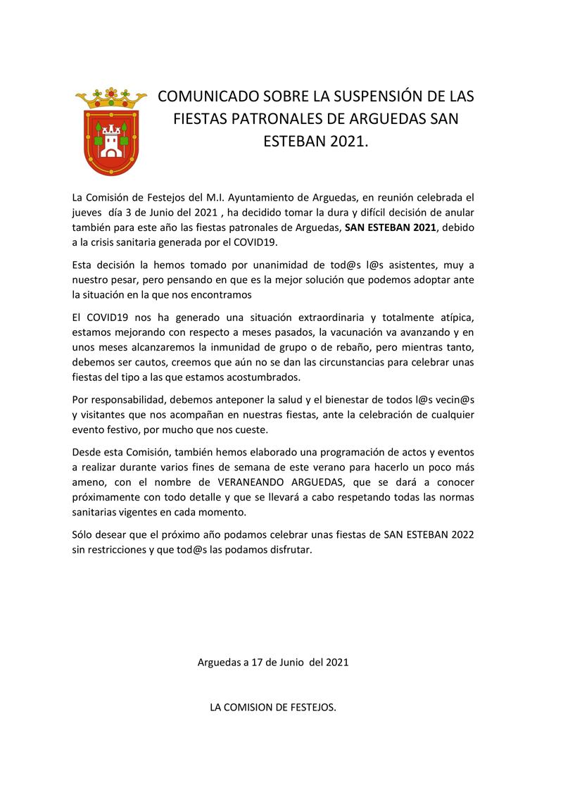 COMUNICADO-SOBRE-LA-SUSPENSIÓN-DE-LAS-FIESTAS-PATRONALES-DE-ARGUEDAS-SAN-ESTEBAN-2021
